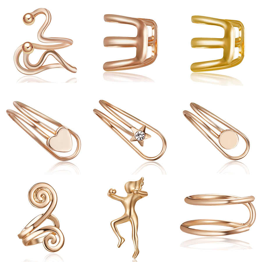 1Pcs Ear Clip Temperament Simple Unisex Fashion Jewelry Cartilage Punk Rock Cuff 3 Colors Wrap No piercing-Clip On Earring