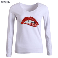 F New Arrival Spring Autumn Women Under Shirt Cotton Long Sleeve T Shirts V Collar Red