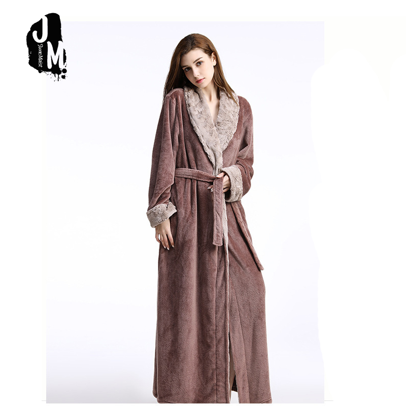 Woman Long Robe Winter Thick Warm Robes Coral Fleece Sleepwear BathRobe Felmale Hotel Spa Plush Bath Robe Nightgown Kimono