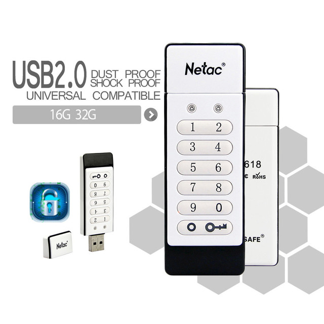 Netac Original U618 USB 2.0 Flash Drive 32GB 16GB Pen Drive Keypad Lock AES 256-bit Hardware Off-line Encryption Memory Stick