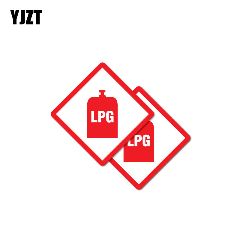 YJZT 2X 7CM*7CM Warning Creative Car Sticker LPG Danger Decal PVC 12-1052