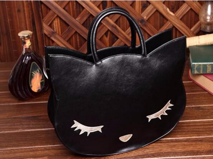 1 шт. головой кота уха лица Улыбка сумка Высокое качество искусственная кожа Crossbody quiled Вышивка круглая сумочка Размер M