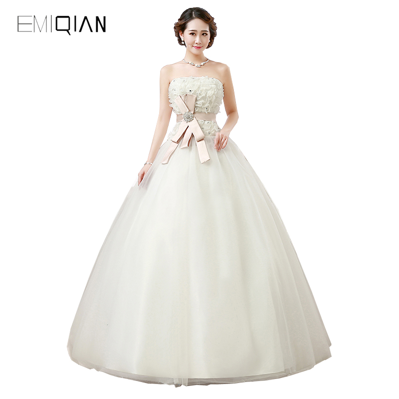 New Design Strapless A Line Tulle Wedding Dresses White