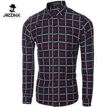2016 Men Long sleeve shirt Chemise Homme Plaid Shirt Camisas Hombre Vestir Mens Casual Shirts Camisa