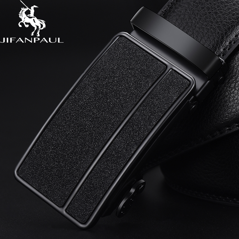 JIFANPAUL Men's Genuine Leather Black Automatic Buckle Belt Trend Youth Men's Leather Personality Simple Business Beautiful Belt