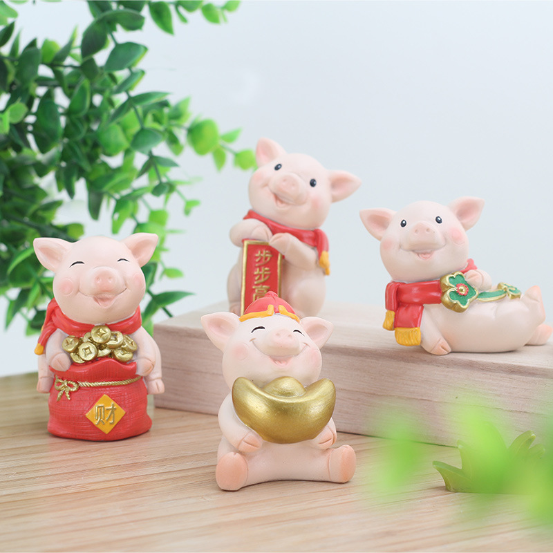 Decorative Collectibles China 3d Cute Pig Resin Home Office Desktop Table Ornament Decoration Rich And Magnificent