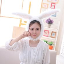 Hot Sale 1Pc Rabbit Cosplay Costumes White Bunny Head Plush Toy Hat With Long Ear Fancy Funny Doll Kids Christmas Birthday Gift(China)
