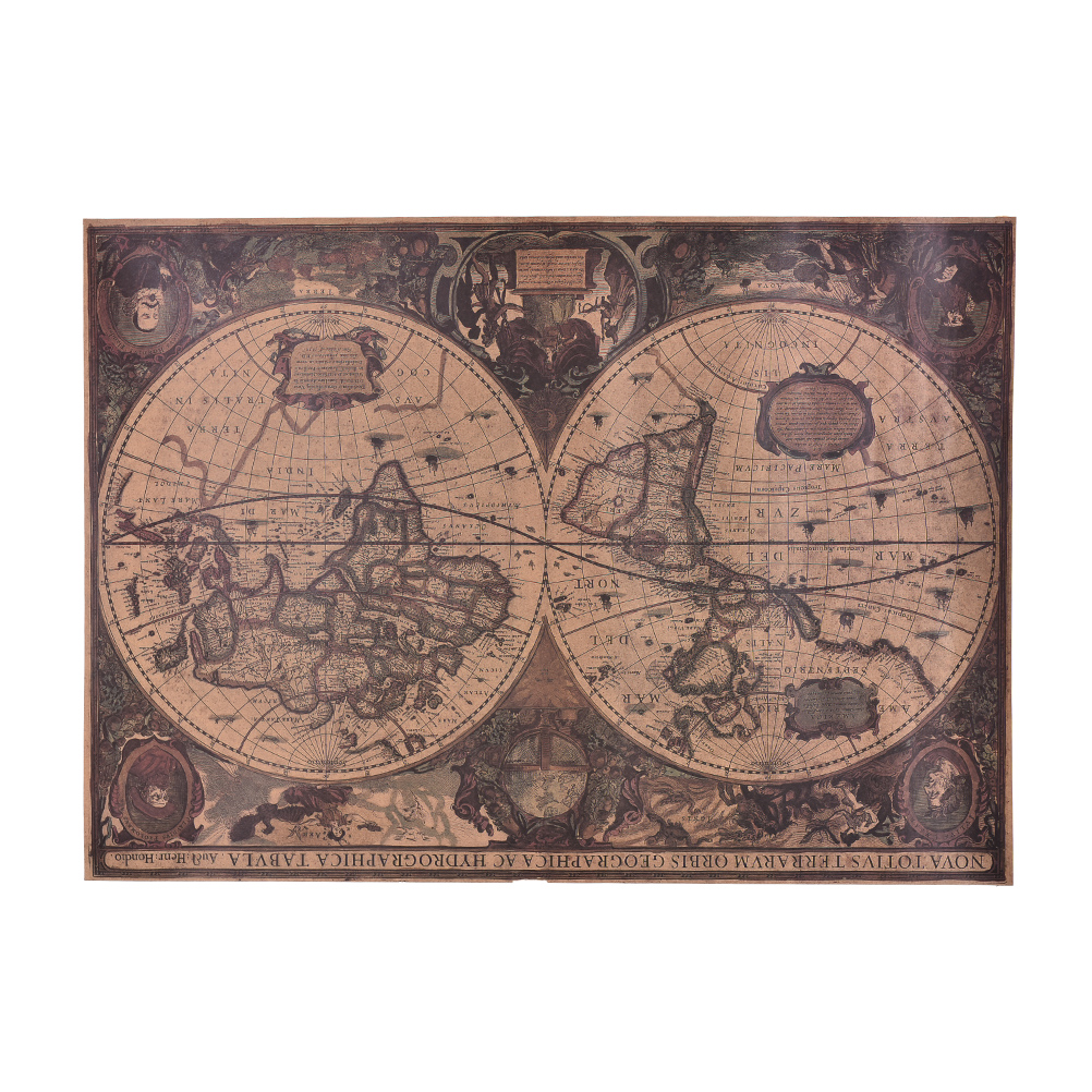 Vintage Retro Kraft Paper Wall Chart Decal Earth's Moon World Map Poster Decor