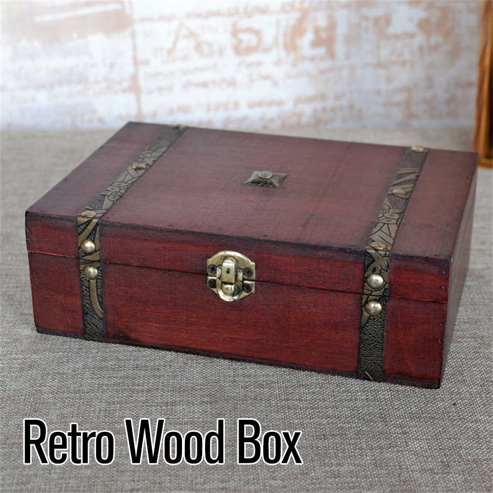 Hot Wooden Vintage Lock Treasure Chest Jewellery Storage Box Case Organizer Ring Gift