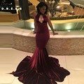 Burgundy Velvet Prom Dresses 2017 Black Girl Sexy Mermaid Prom Evening Gowns Cut Out Cheap Ballkleider Long Evening Dress