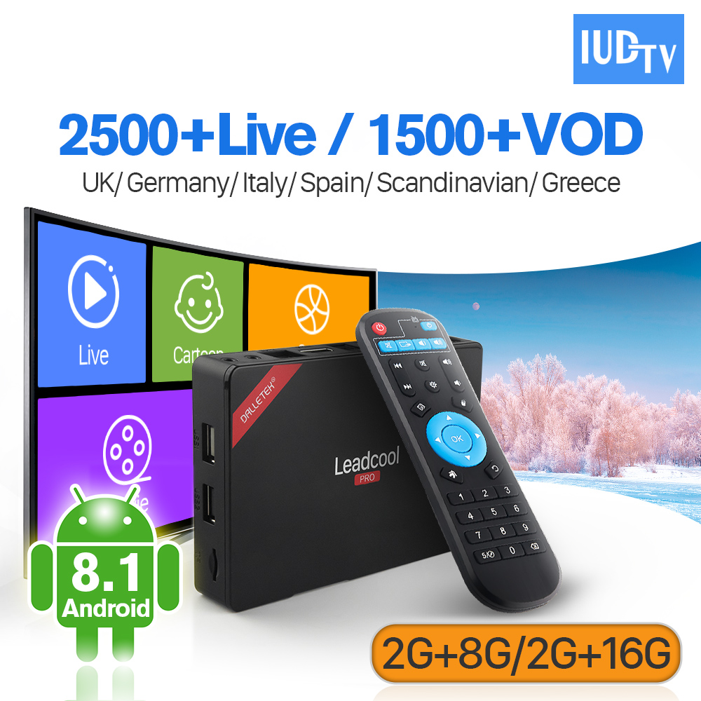 Leadcool Pro IUDTV IPTV subscription Android 8.1 Europe Box RK3229 2G 8G/2G 16G with IPTV Italia Sweden Arabic Spain IP TV