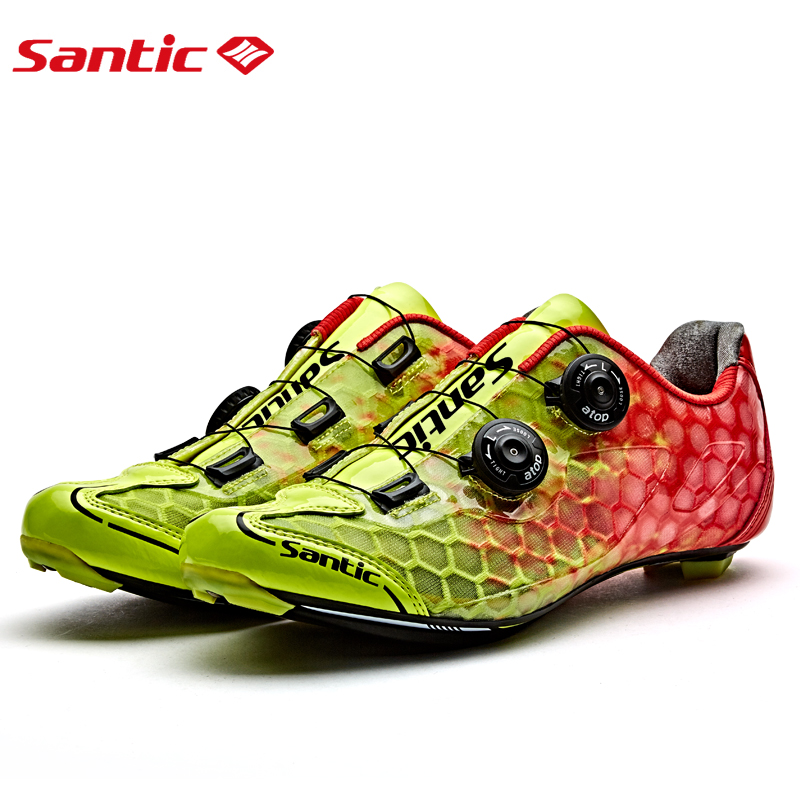SANTIC Cycling Bike Bicycle Pro Road Shoes Breathable Carbon Fiber Shoes Athletic Auto locking Sports Racing