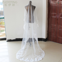 ZUOYITING Luxury 3m Ivory White One Layer Tulle Sequins Lace Edge Cathedral Wedding Veil Long Bridal