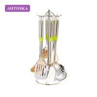 AHTOSKA 7/PCS Utensilios de cocina de Acero Inoxidable de la Buena Calidad de Cocina Conjunto Espátula Pala Freír Colador Cuchara de Sopa Utensilios de Cocina