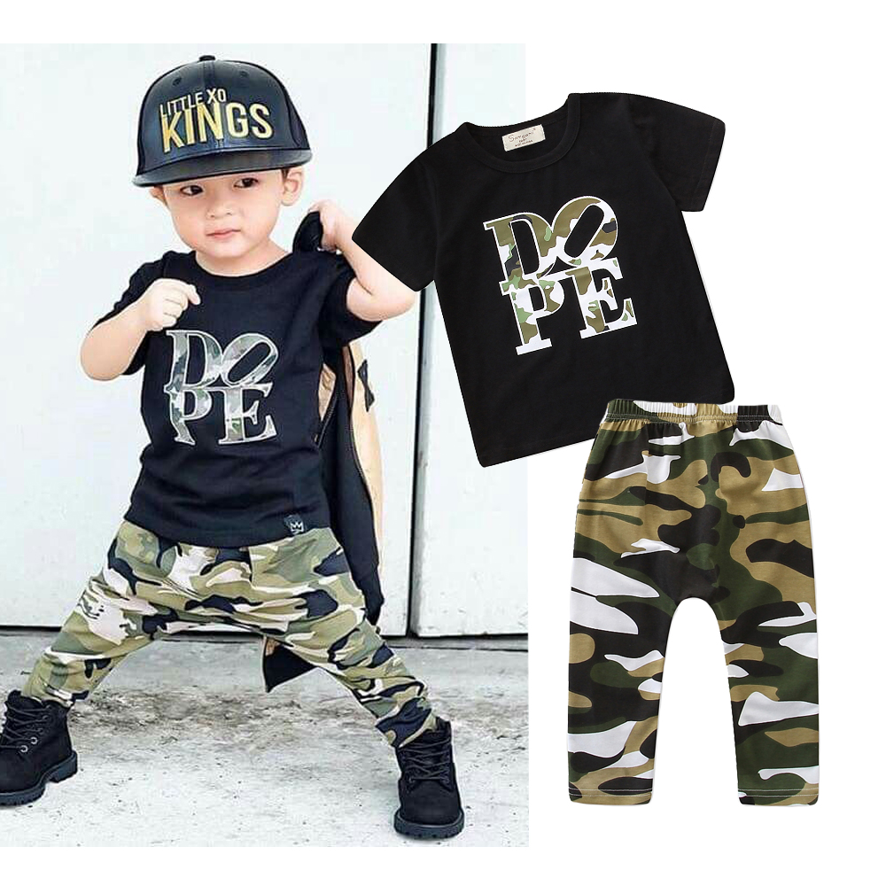 2Pcs children Boys Tops Pants Outfits Sets Camouflage Casual Baby Kids Clothes