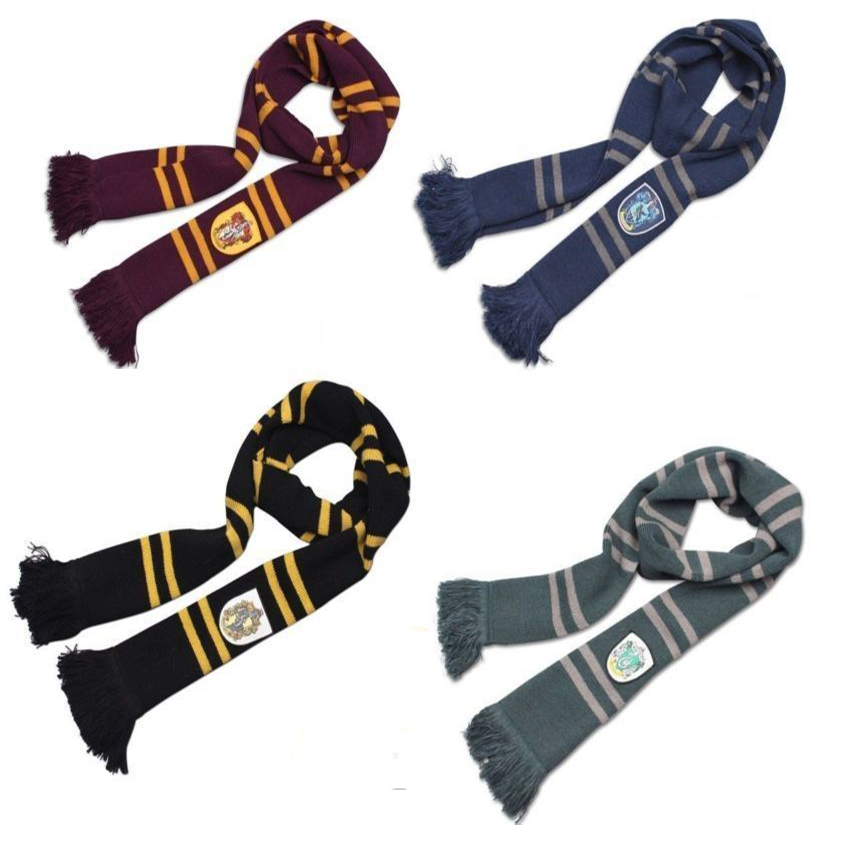 190cm Length Gryffindor Slytherin Ravenclaw Hufflepuff House 4 Color 100% Original Version Cosplay Scarf Warm Knit Scarf Sale