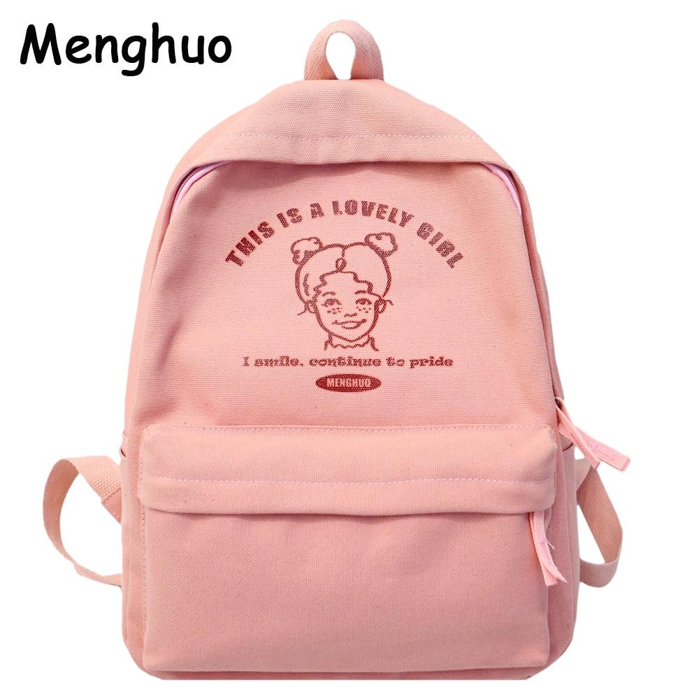 Menghuo Preppy Style Women Backpack for School Teenager Girls School Bag Ladies Canvas Fabric Backpack Female Bookbag Mochilas-in Backpacks from Luggage & Bags
