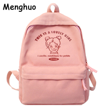 Menghuo preppy estilo feminino mochila para a escola adolescente meninas saco de escola das senhoras tecido lona mochila feminina bookbag