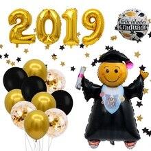 1PC gold silver star Graduation Balloon Grad Party Decoration Smiling Face Foil Congrats Balloons Congratulation Supplies