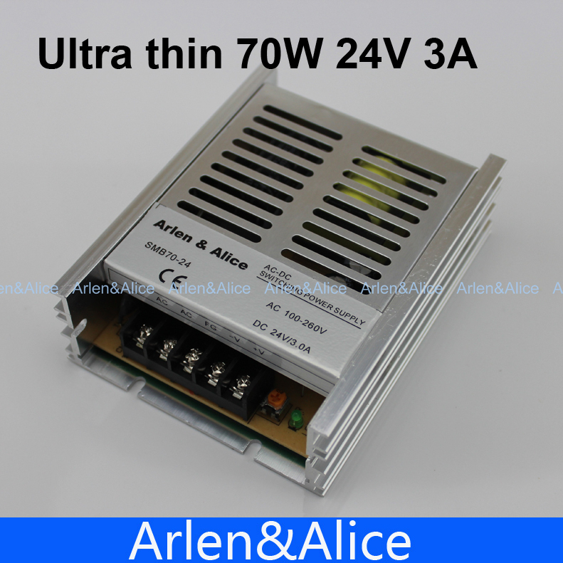 70W 24V 3A 100V-260V AC INPUT Ultra thin Single Output Switching power supply for LED Strip light 320w led switching power supply 26 7a 21 3a 13 3a 85 265ac input for led strip light power suply 5v 12v 24v 48v output