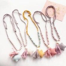 Korea Handmade Cute Fabric Star Tassel Necklace Baby Chain Fashion Jewelry Children Girl Accessories-SWCGNL057C5