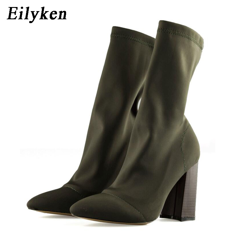 Eilyken Fashion Elastic Sock Ankle Boots Chunky High Heels Stretch Women Autumn Sexy Booties Pointed Toe Women Pumps Boots jady rose stretch fabric autumn booties chunky high heels pointed toe ankle boots knit sock rubber women high boot women pumps
