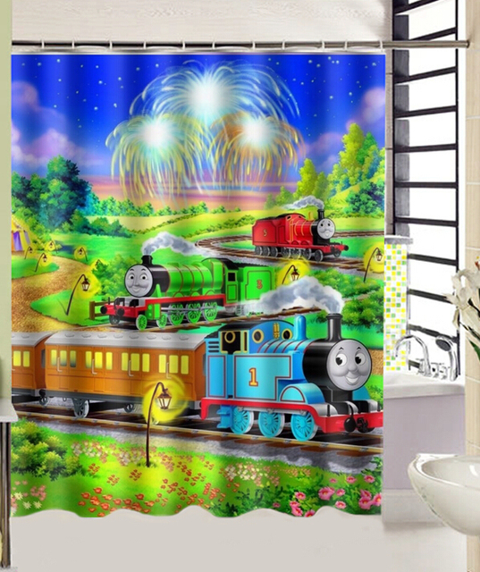 Thomas The Tank Engine Train Print Bath Curtain Decors 180x160 CM High Quality Waterproof Shower