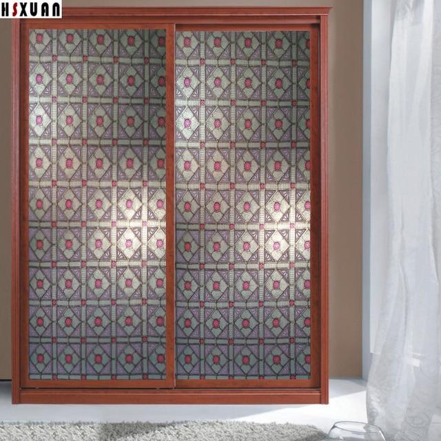 Tint Self Adhesive Glue Window Film 90x100cm Retro Pattern Furniture