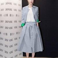 2016 г. Весна Для женщин Vogue Костюмы блейзер Модные льняные свободные штаны костюмы комплекты одежды из трех предметов
