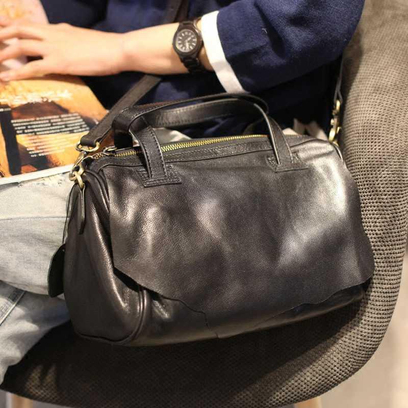 Сумка EUMOAN для школы, универсальная сумка на плечо из овчины черного цвета для отдыха