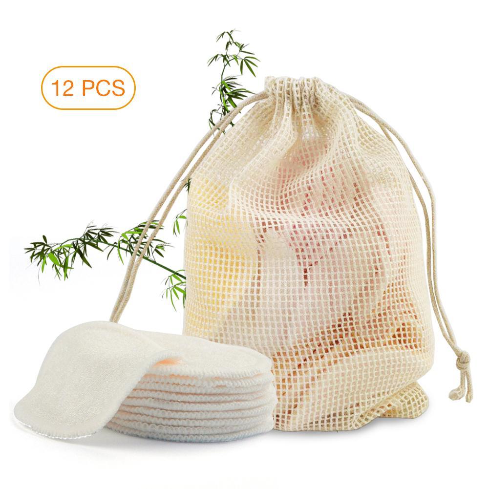 Makeup-Remover-Pads Skin-Care Cotton-Pads Bamboo-Fiber Reusable 12pcs Facial