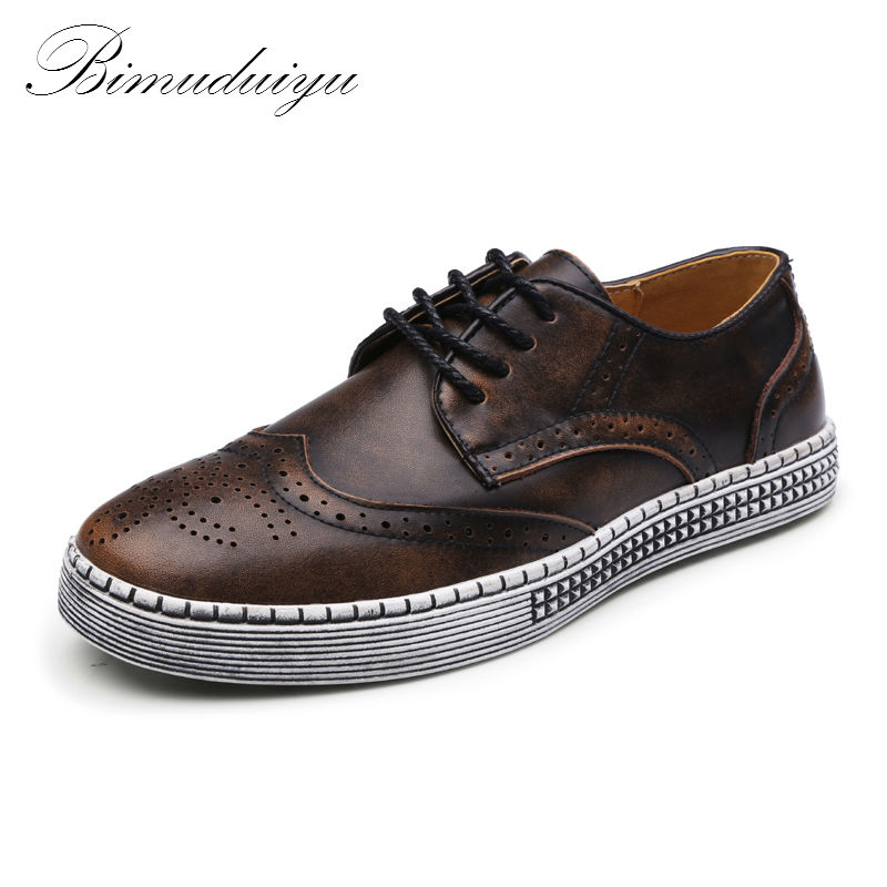 BIMUDUIYU Spring Autumn New Trendy Shoes Quality Genuine Leather Soft Casual Gentleman Brogue Style Mens Shoes 38-48 Large size