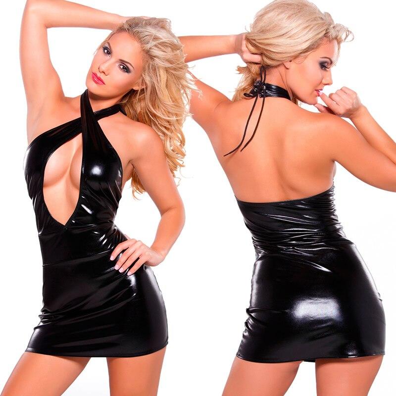 YUFEIDA Faux Leather Dress Pole Dance Latex Costume Sexy Intersect Dresses Party Night Club Dress Erotic Leotard Bodysuit