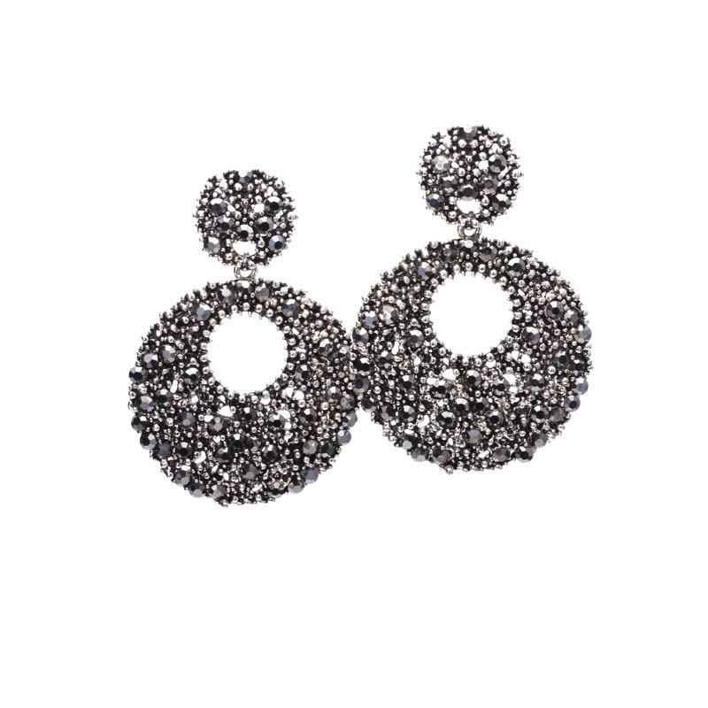 Glänzende hohle runde große Baumel-Kristallohrringe Einzigartiger - Modeschmuck - Foto 5
