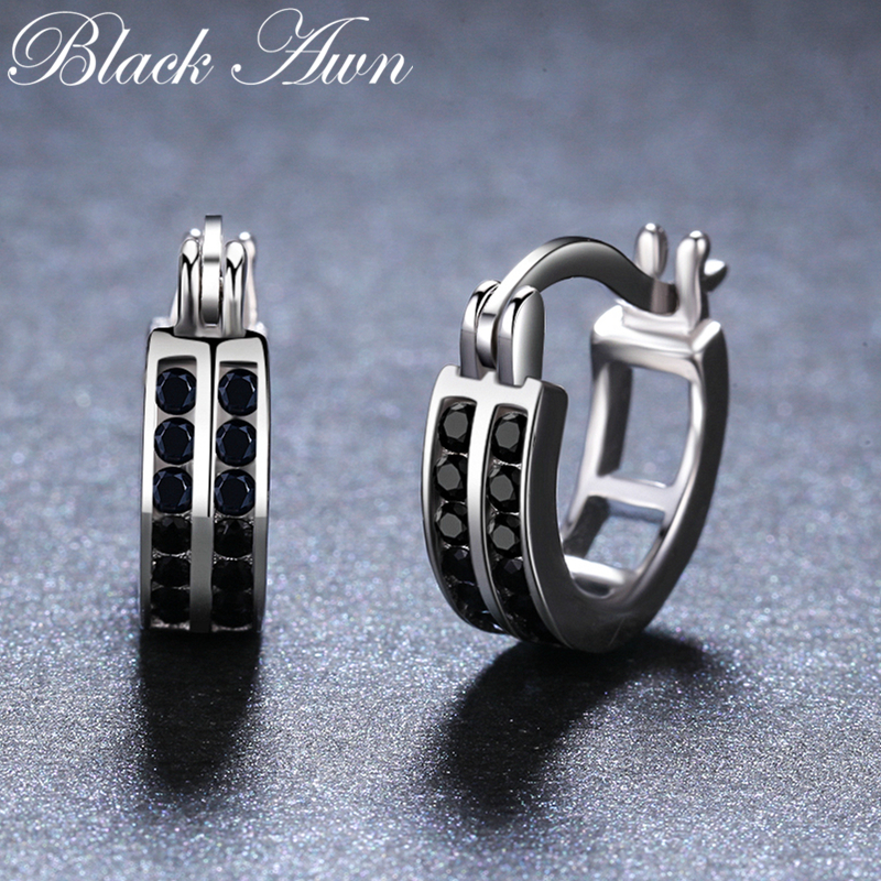 [BLACK AWN] 925 Sterling Silver Jewelry Cute Hoop Earrings For Women Black Spinel Boucles D'oreilles I019