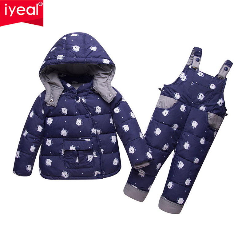 IYEAL Children Baby Girls Boys 90% Duck Down Warm Clothing Set Kids Winter Jacket Jumpsuit Toddler Outerwear Coat Baby Clothes toddler boys velvet suit baby girl kids winter clothes fashion warm children clothing set autumn 2018 outerwear girls outfits