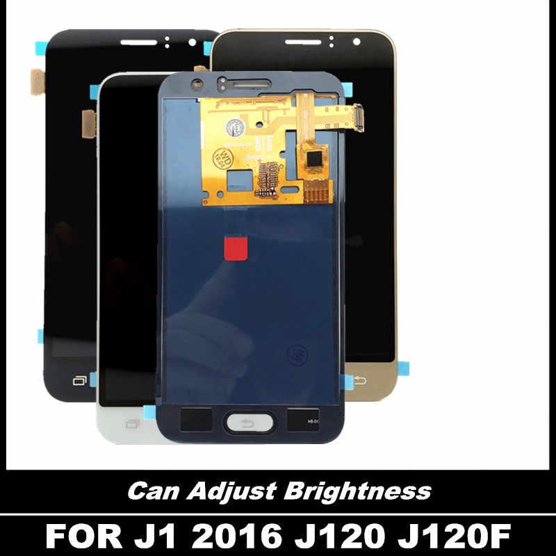 يمكن ضبط عرض السطوع لسامسونج غالاكسي J120 2016 J120F J120H LCD شاشة تعمل باللمس كامل محول الأرقام الجمعية LCD استبدال