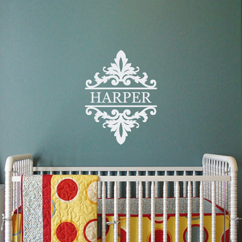Shabby Chic Damask Custom Monogram Name Wall Decal Bedroom Or Baby Nursery Vinyl Lettering Sticker Free Shipping 54x40cm