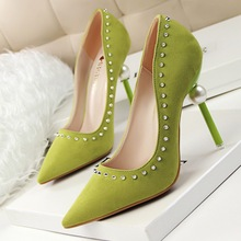 Sexy thin heel shoes Pearl embellished with rivets ultra suede pointed high-heeled shoes