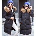 2016 Fashion Women Parka Winter Faux Fur Collar Jacket Female Long White Duck Down Parkas Coat Thick Hoody Winter Down Coat
