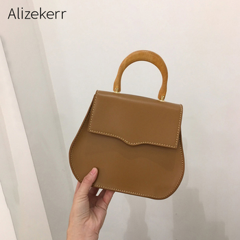 dd931949729d Ins Корейская Ретро сумка-седло женская дизайнерская простая деревянная  ручка Новые элегантные женские сумки на