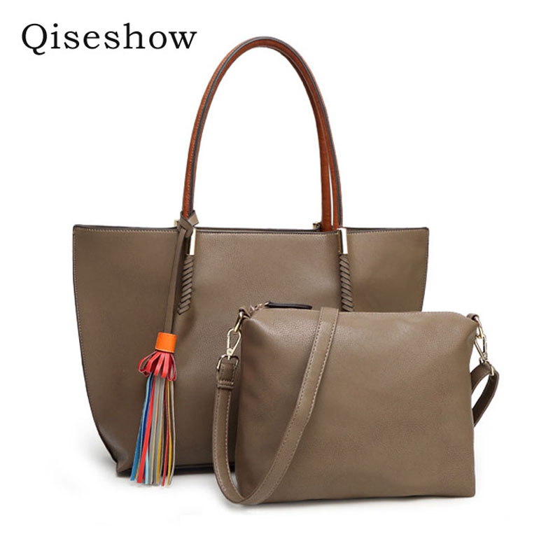 ФОТО Women Composite Bag 2017 New Fashion Female Tote Woman Handbag Lady PU Leather Shoulder Messenger High-capacity Tassel Leisure
