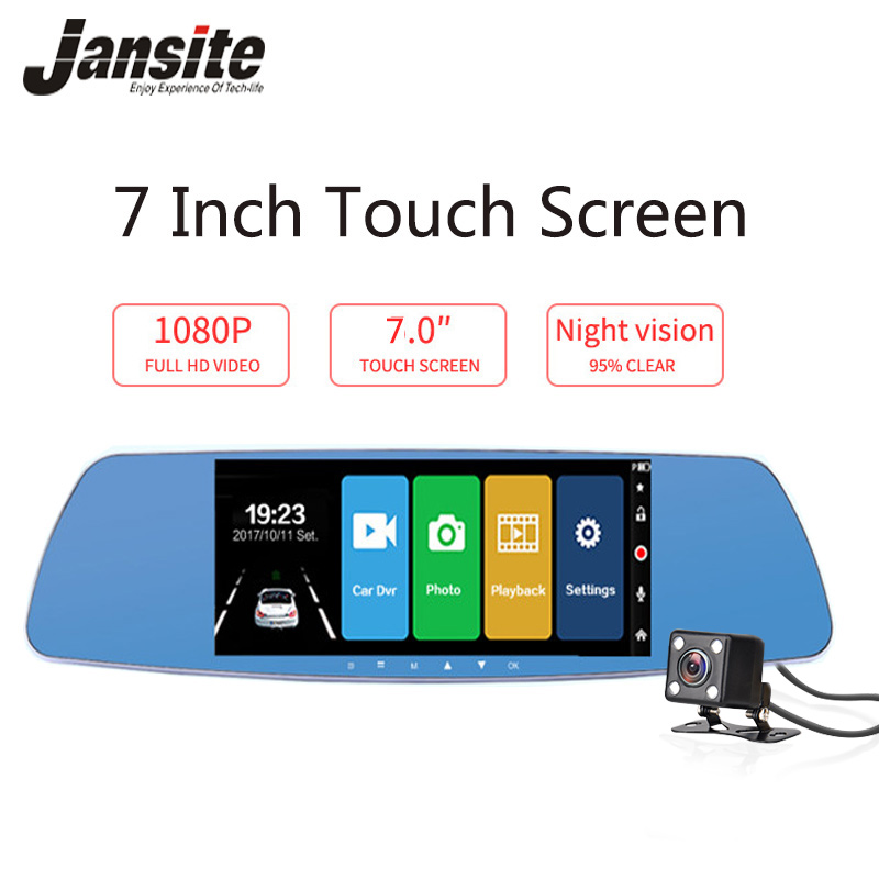 Jansite 7 Inch Touch Screen Car DVR Dual Lens Car Camera Rearview Mirror Video Recorder Dash Cam Auto Camera Portable Recorder цена