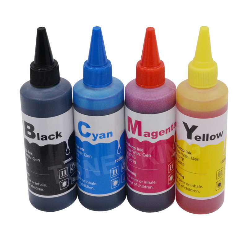 T1281 T1282 T1283 T1284 Isi Ulang Tinta untuk Epson Stylus SX125 SX130 S22 SX230 Printer + 4 Warna 100Ml isi Ulang Tinta Dye