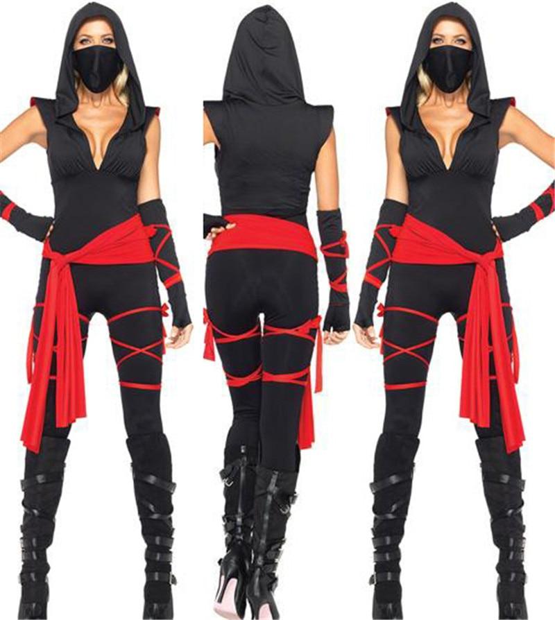 Halloween Cool Adult Women Black Gold Ninja Samurai -8138