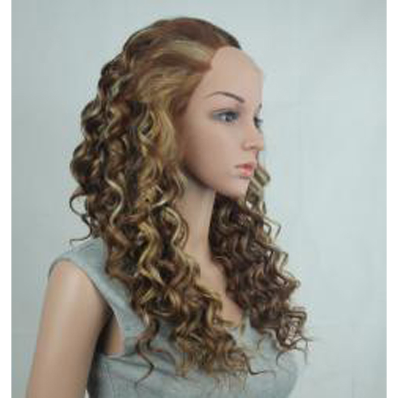 Long Brown Hair Blonde Highlights Synthetic Lace Front Wig Heat