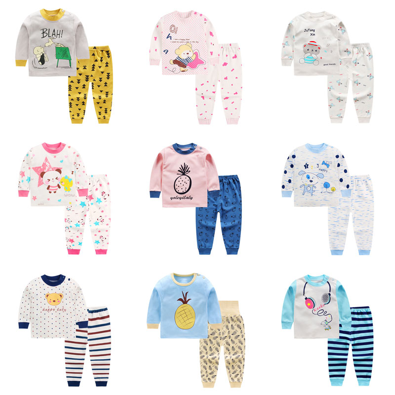 Children   Pajamas     Set   Cotton Kids   Pajamas   Warm Boys Girls Sleepwear Suit Long Sleeve T-Shirt+Pants 2 pcs Clothing Sleepwear