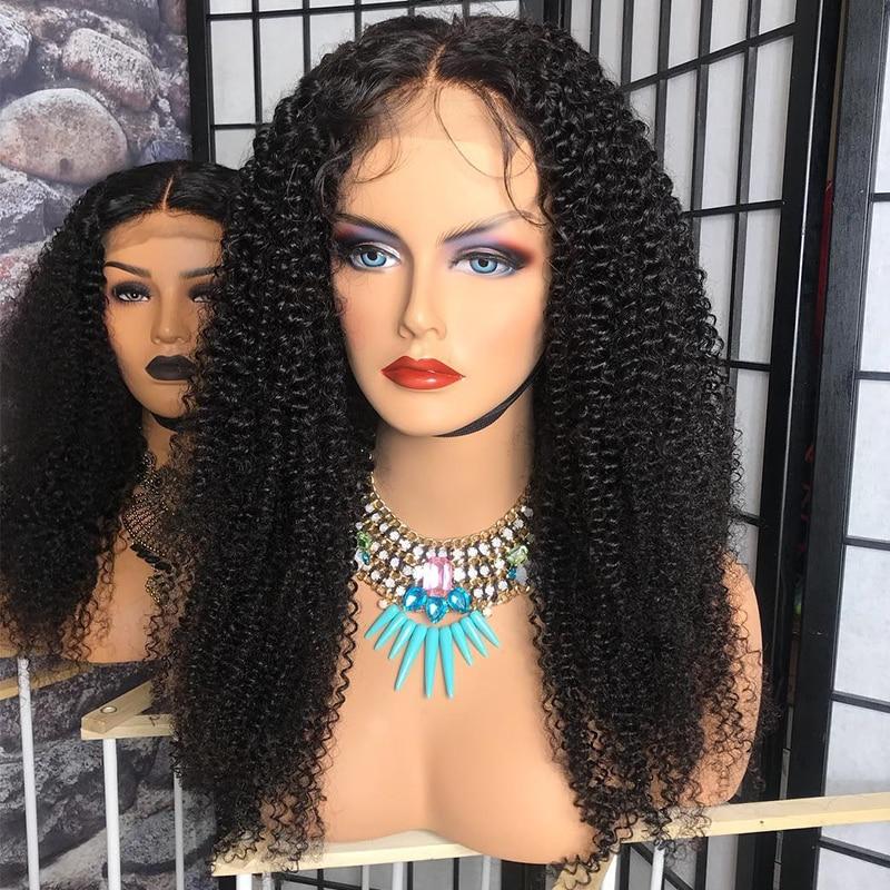 Kinky Περσικές Lace Περούκες Lace Μπροστινή - Ανθρώπινα μαλλιά (για μαύρο) - Φωτογραφία 2