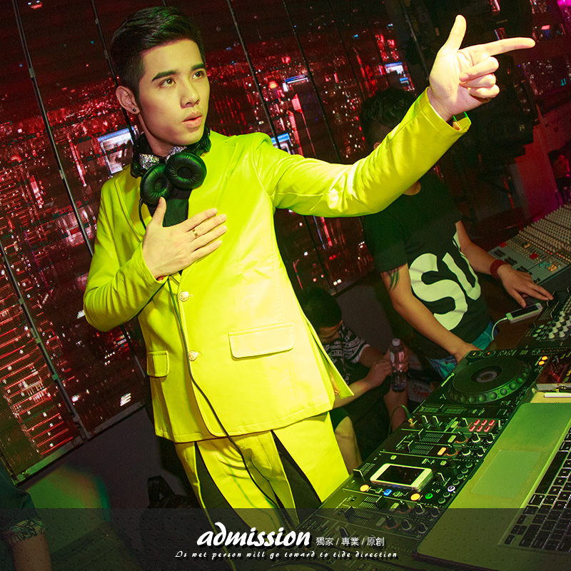 Nightclub Male singer DJ performance leather Jacket Mens Yellow casual Slim blazer for singer dancer performance suit coat