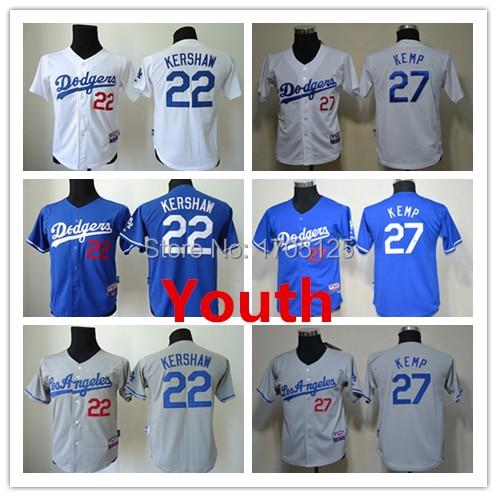 innovative design 19c92 20363 22 Clayton Kershaw 27 Matt Kemp Jersey youth baseball jersey ...